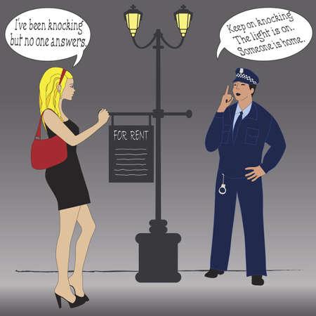 Someone is home -  joke illustration Stock Vector - 9865127