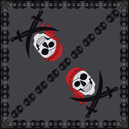 pirate flag: Pirate Skull Bandana Illustration