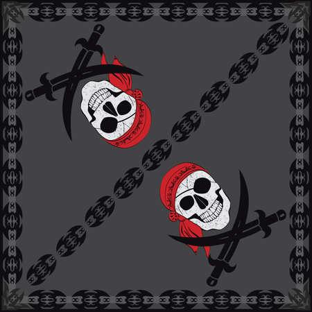 red bandana: Pirate Skull Bandana Illustration