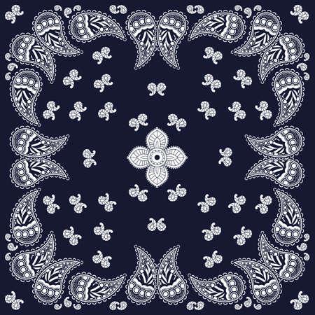 Navy paisley bandana design Vector