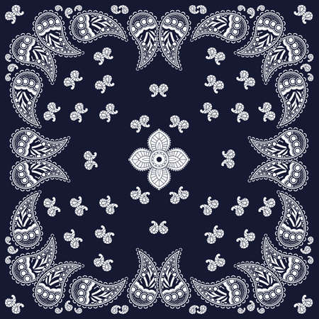 navy blue background: Navy paisley bandana design Illustration
