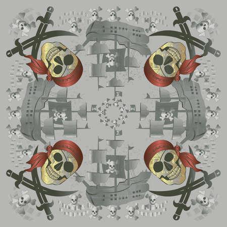 Pirate Skull and Crossbones Bandana Vector