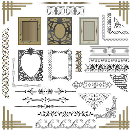 art nouveau frame: Set of borders, dividers and frames