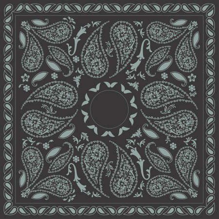 Bi-color Paisley Bandana Design Illustration