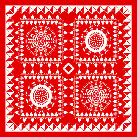 head scarf: Red and White Bandana Design