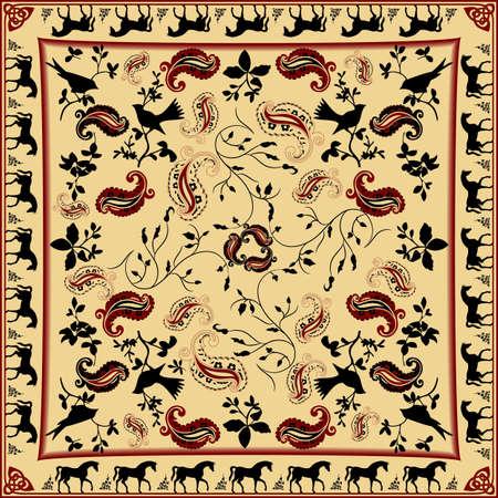 レトロなバンダナと馬と鳥のパターン設計