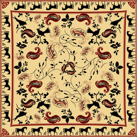 Retro Bandana Design with Horse and Bird Pattern Vector