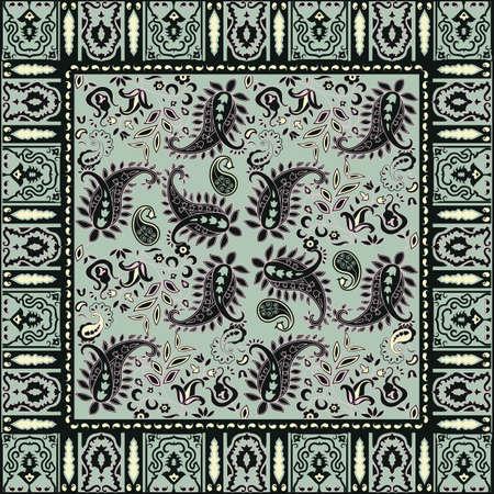 head scarf: Bandana design; traditional paisley pattern