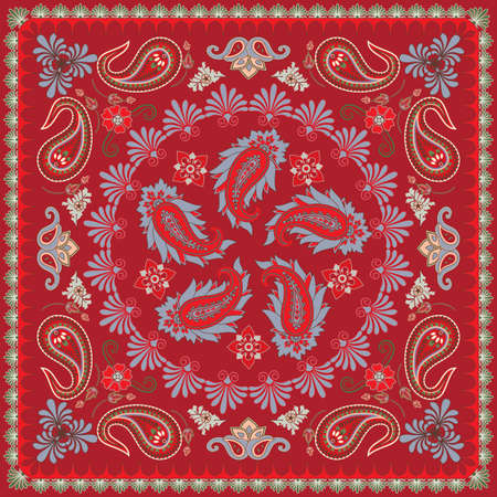 Traditional Paisley Bandana Design Vector