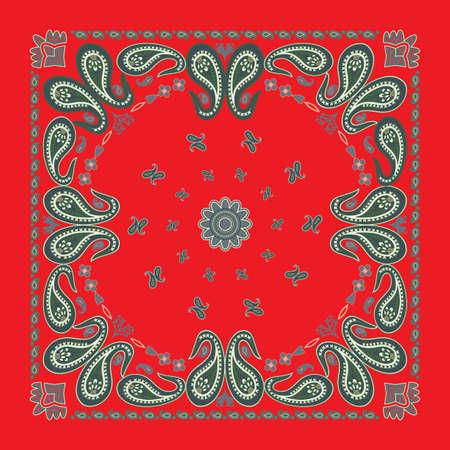 古典的な赤ペイズリー バンダナ設計  イラスト・ベクター素材
