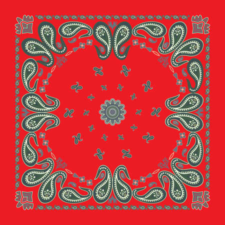 Classic Red Paisley Bandana Design Vector