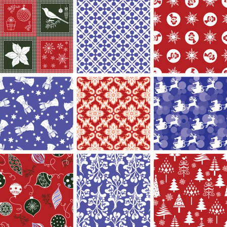 Set of Christmas Repeating Patterns Vector