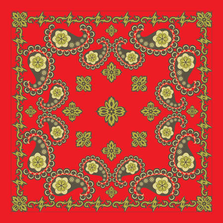 Classic Red Paisley Bandana Design Vector