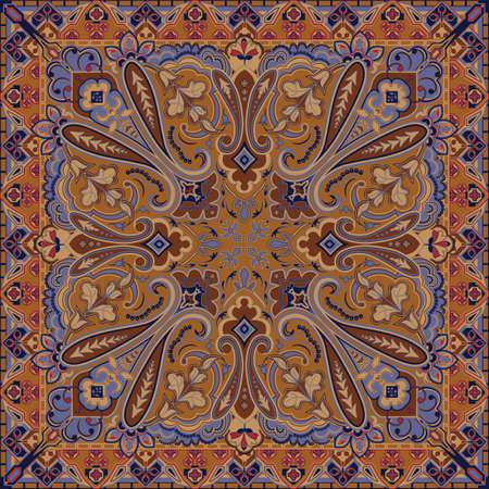 Traditional Style Colorful Paisley Bandana Vector