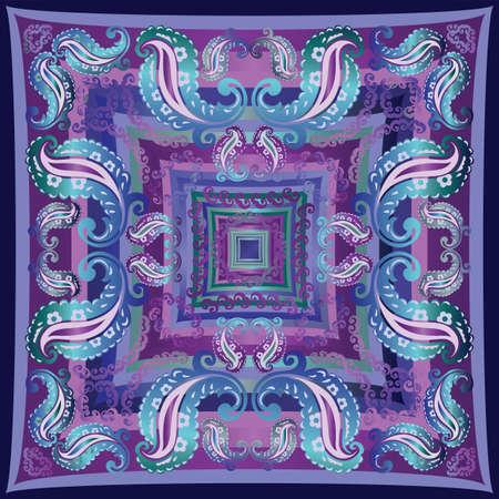 バンダナ青紫色小ガモ デザイン  イラスト・ベクター素材