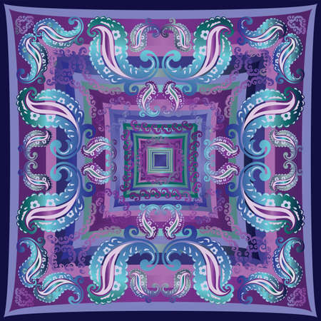 Bandanna design in blue purple and teal