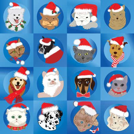 Santa Pets Vector
