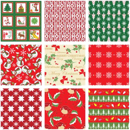 シームレスなクリスマスのパターンのコレクション  イラスト・ベクター素材