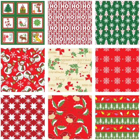 Collection of Seamless Xmas Patterns Vector