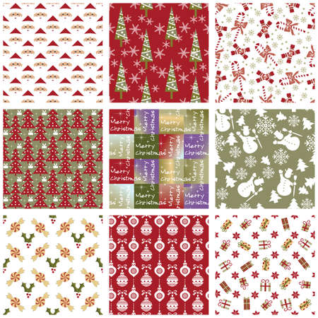 Collection of Christmas repeating swatches Vector