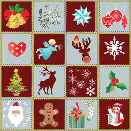 Seamless Xmas Wrapping Paper and Design Elements Vector