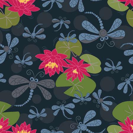 water lilies: Patr�n transparente con nen�fares y lib�lulas Vectores