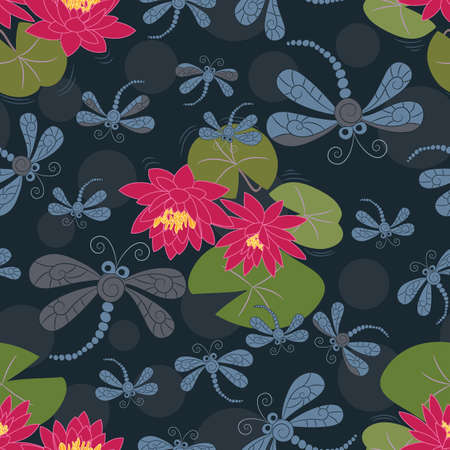 Seamless Pattern with Water Lilies and Dragonflies Vector