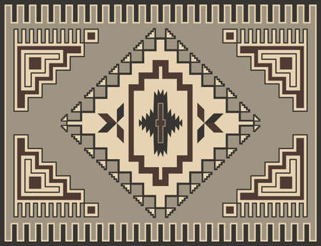 Traditional Geometric Retro Carpet Design Vector