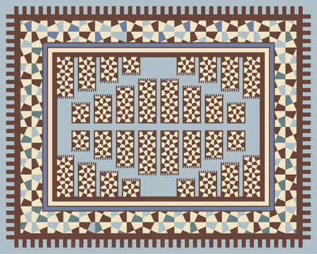 Carpet design with geometric decorations Vector
