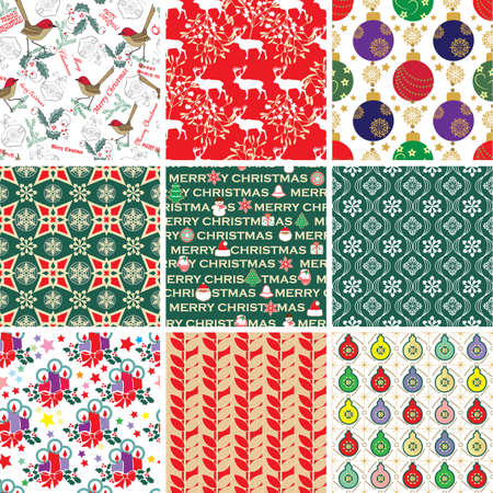 Collection of Christmas Patterns Vector