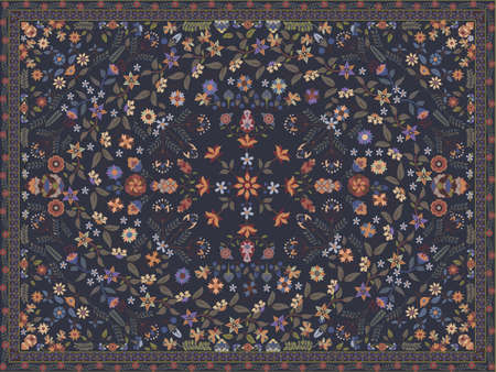 oriental rug: Floral carpet Illustration