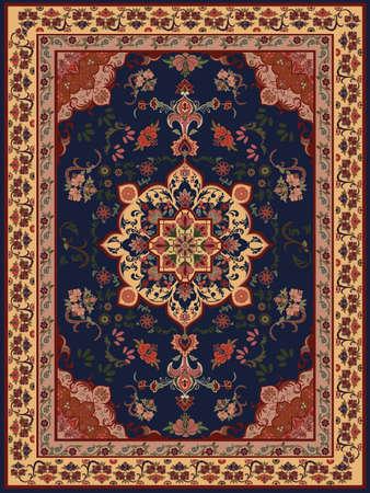 東洋の花のカーペットのデザイン  イラスト・ベクター素材