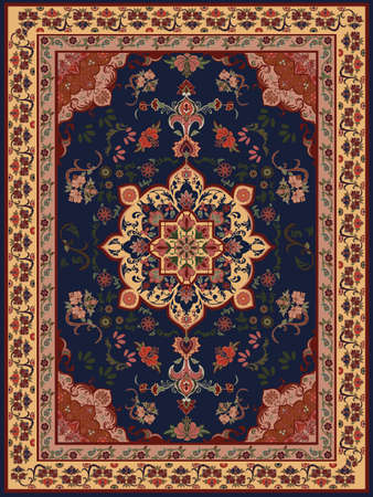Oriental Floral Carpet Design Vector