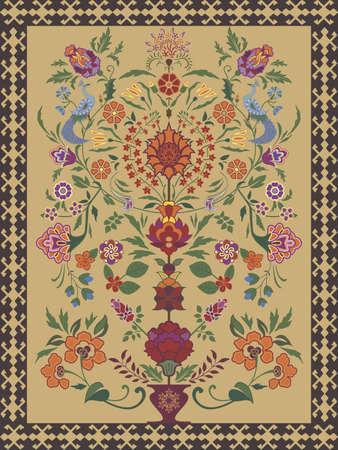生命の木の伝統的なモチーフをあしらったカーペット デザイン