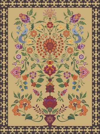 Carpet Design featuring traditional tree of life motif Vector
