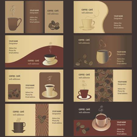 コーヒーのビジネス カード テンプレート (8 セット)