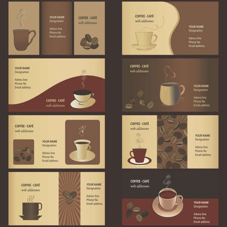 Coffee Business Card Templates (8 set) Vector