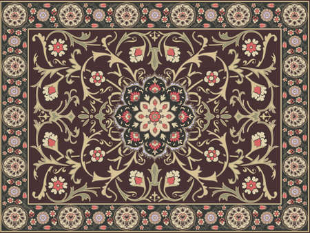 ottoman fabric: Arabic style carpet design