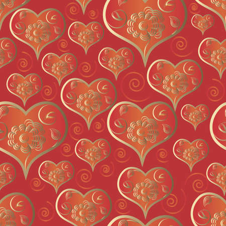 Elegant flower heart seamless pattern