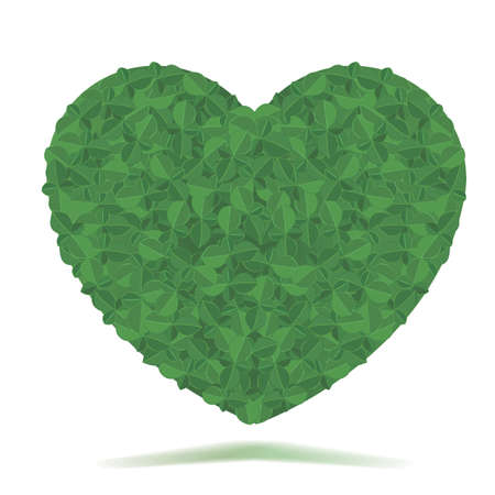 Green Heart of Leaves Illustration