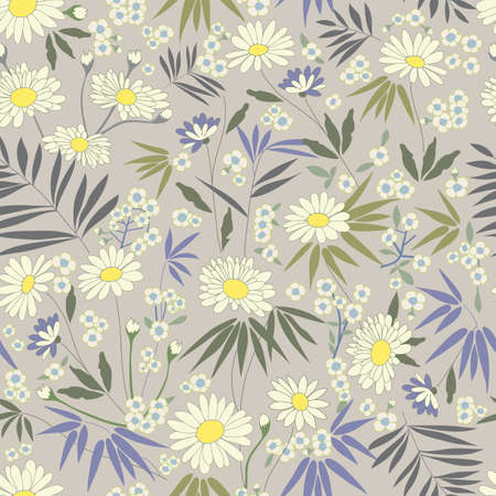 Daisy Themed Repeating Pattern  Vector