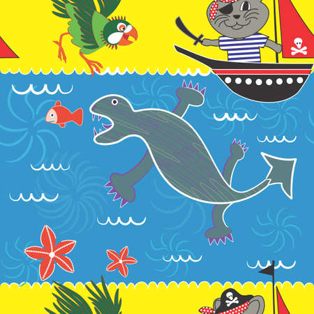 sea monster: Seamless Pattern with a Pirate Tomcat Theme