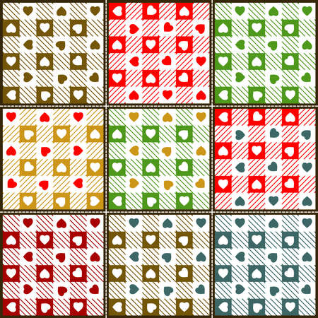 Patchwork of Seamless Hearts   Gingham Patterns   Vector