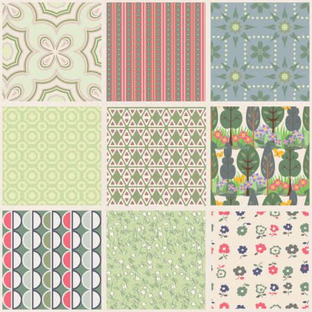 Set of 9 seamless fabric textures Stock Vector - 13322220
