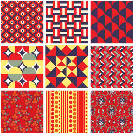 Set of 9 bright seamless pattern swatches Vector