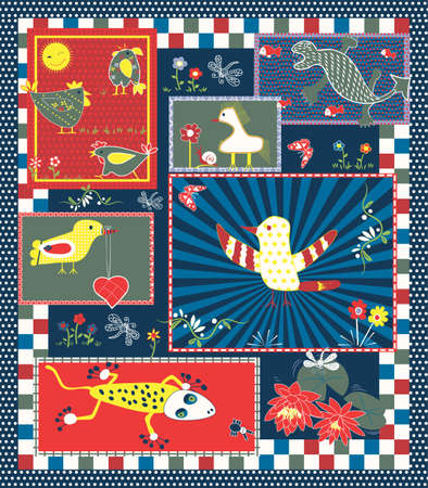 Quilt Pattern for Kids Vector