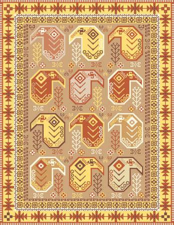 Kilim alfombra de estilo de diseño en colores suaves con motivos tradicionales boteh Ilustración de vector