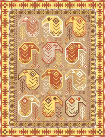 Kilim-style carpet design in soft colors with traditional boteh motif