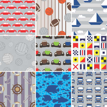 Set of Boys Fabric Swatches Vector