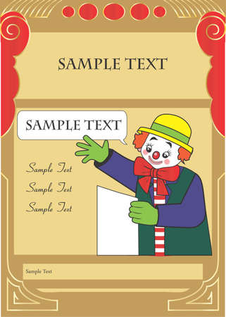 Happy clown party invitation template for kids with sample text Vector